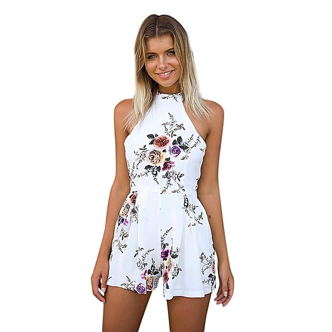0de65efd56 Generic Women High Neck Floral Mini Playsuit Ladies Summer Shorts ...