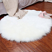 Soft Artificial Sheepskin Rug Chair Cover Artificial Wool Warm Hairy Carpet Whit-White
