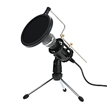 Professional Condenser Microphone 3.5mm Plug and Play Home Studio Podcast Vocal Recording Microphones with Mini MIC Stand Dual-layer Acousticfilter for iPhone Laptop PC Tablet