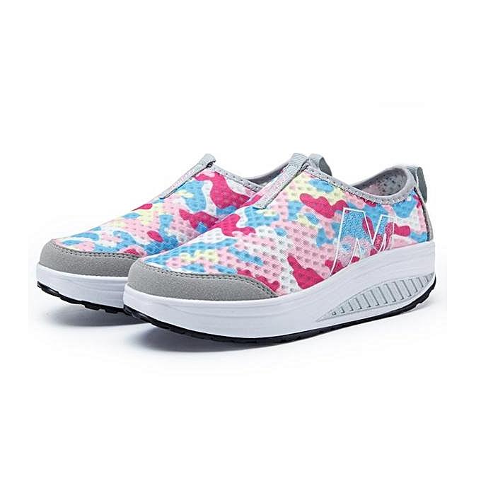 7f9921ff9047 Fashion Women Camouflage Mesh Platform Breathable Rocker Sole Athletic  Casual Shoes-EU