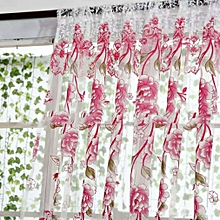 Sheer Curtain Rose Flower Finished Yarn Curtain Bedroom Window Voile Curtain pink