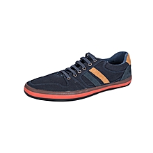 Dark Blue Men's Laced Canvas Shoes