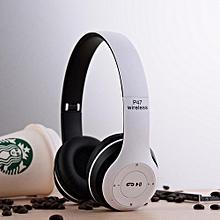 Wireless Headphone, P47 Overhead Wireless Bluetooth Earphone Dre Headphone Earpods(White)