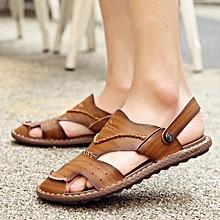 Fashion Large Size Men Stitching Anti-collision Toe Slip Resistant Sandals-EU