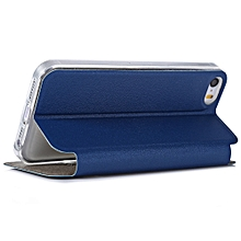 Smart Metal SlidingAnswer Phone Cover Matte Folding Leather Protective Case for iPhone 5 / 5S / SE