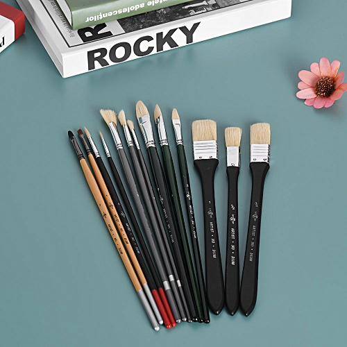 13pcs Paint Brush Set Watercolor Acrylic Oil Painting Brushes with Bag for  Students Art Supplies