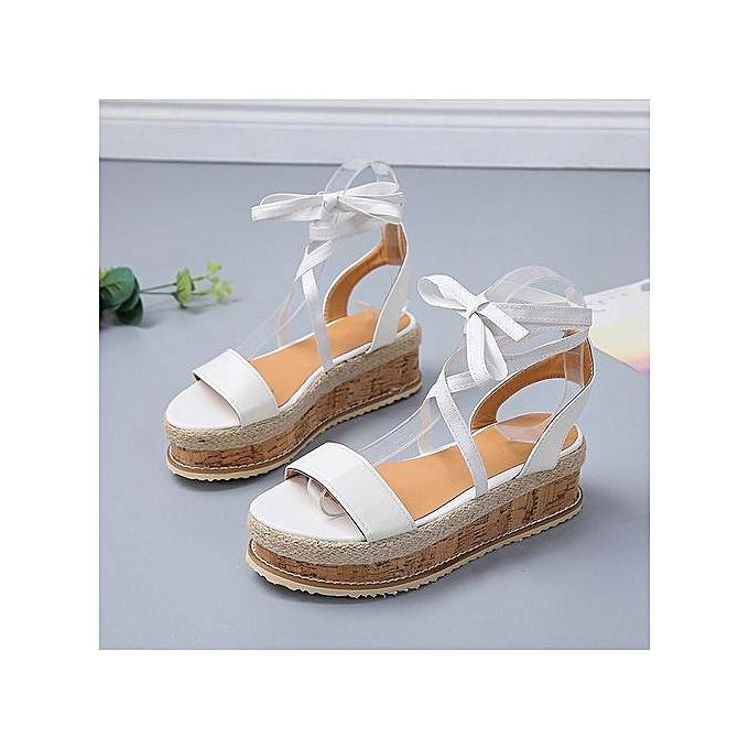 e90ff1c6f9f8 ... Jiahsyc Store Ladies Women Roman Shoes Platform Woven Thick-Bottom  Waterproof Wedge Sandals-White