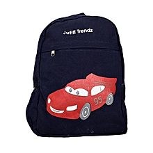 Navy Blue Canvas Designer School Bag  Decorated With Red Car