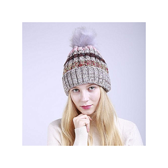 cced1222eee Wenrenmok Store Unisex Color Block Knit Wool Beanie Cosy Winter Warm Bobble  Ski Pom Pom Hat