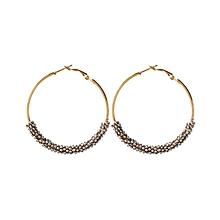 Bohemia Bead Round Hoop Earrings - Silver