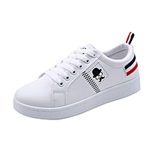 Generic Ladies Women's Shoes Fashion Beard Striped Sneakers Flat Casual White Shoes A1