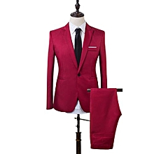 Men Business One Button Formal Two-Piece Suit-Wine Red