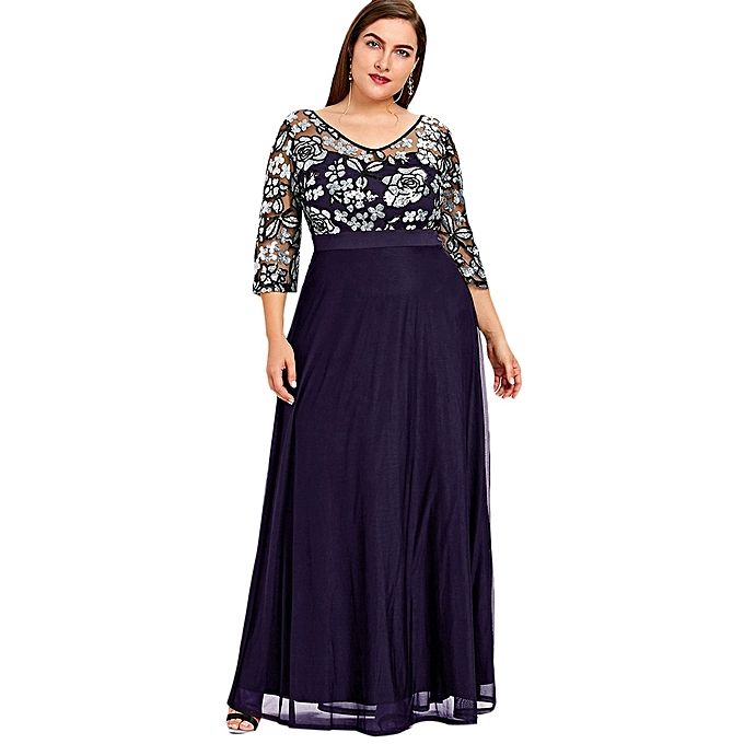 Buy Fashion Plus Size Sequined Floral Maxi Prom Dress - PURPLE ...