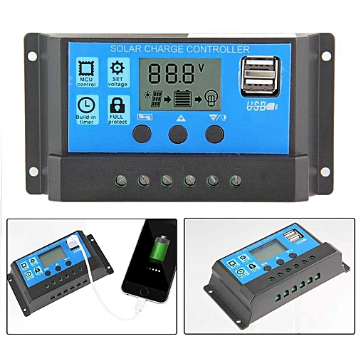 New style Kobwa 10A Solar Charger Controller Solar Panel Battery  Intelligent Regulator With USB Port Display e51bf4d683a7