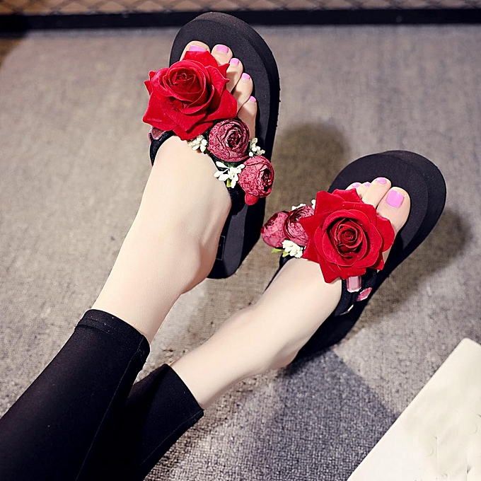 045eb77a3dce ... douajso Women Girls Hand-made Floral Wedges Flip Flops Sandals Slippers  Beach Shoes-Black ...
