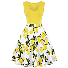Woman Floral&Lemon Print Dress - Yellow
