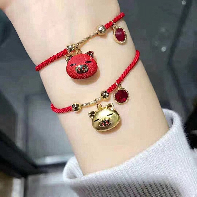 New Year piggy Chinese Zodiac Sign lovers red rope bracelet