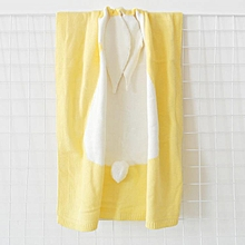 Hot style three-dimensional bunny rabbit ears blanket blanket children knitted baby blankets baby blankets beach mats # Yellow