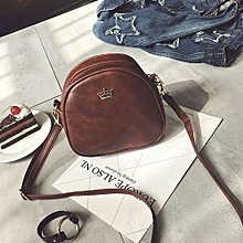 bluerdream-Fashion Women Half Circle Leather Handbag Cross Body Shoulder Messenger Bag CO- Coffee