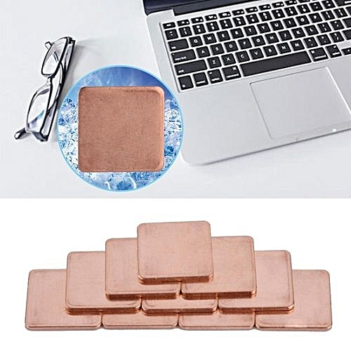 10 Pcs 20 * 20mm Copper Sheet Shim Piece Heat Sink Thermal Pad For GPU CPU  Laptop 0 8mm