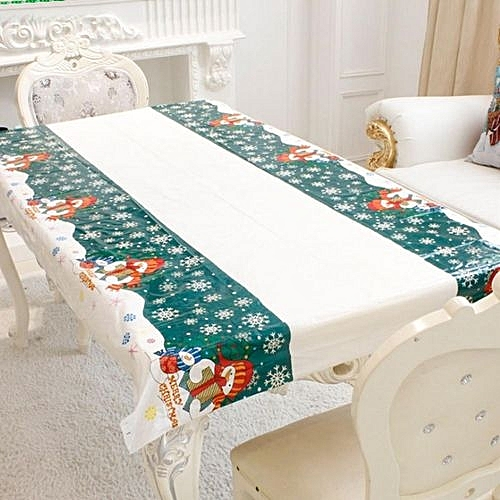Cutlery Christmas Xmas Disposable Tablecloth PVC Santa Dinner Table Cover  Decor Snowman
