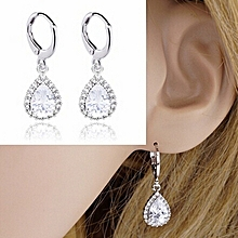 S925 Silver Plated Inlay White Gold Teardrop-shaped Zircon Earrings