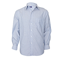White & Deep Blue Stripped Long Sleeved Collier Shirt