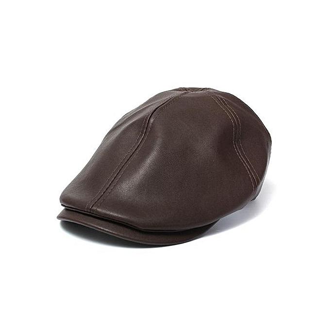 2 Pcs Men s Leather Ivy Gentleman Flat Cap Bonnet Newsboy Beret Cabbie  Gatsby Golf Hat Coffee 7e0ea4df6d9