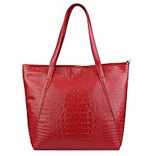 Crocodile Solid Color Shopper Bag - Red