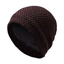 Mens Fashion Soft Winter Warm Thickened Knitting Hats Knit Cap Color:Brown