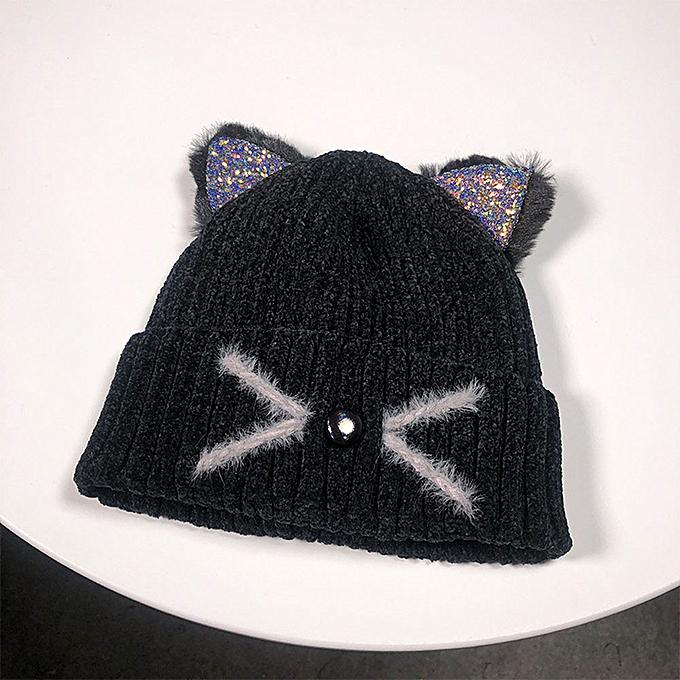 ca18315cec3c71 Wenrenmok Store Women Fashion Keep Warm Cat Ear Winter Hats Knitted Wool  Hemming Hat-Black
