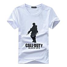 Men Black OPS Logo Print T-shirt -White