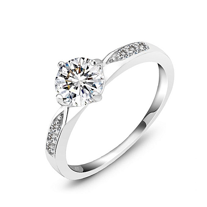 9df6b103253fb Genuine 925 Sterling Silver Ring Classic Wedding Ring Jewelry Cubic Zircon  Rings For Women Bridesmaid Gifts