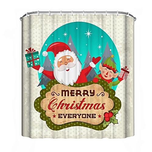MUYI Christmas Waterproof Polyester Bathroom Shower Curtain Decor With Hooks New B