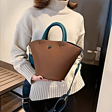 Fashionable PU Leather Litchi Texture Handbag Cute Single-shoulder Bag for Girls (Brown)