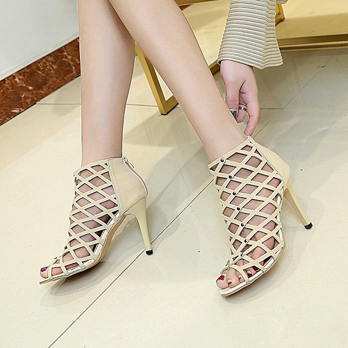a48e5415af5 ... Hiamok Women s Fashion Peep Toe High Heels Shoes Rivet Roman Gladiator  Sandals ...