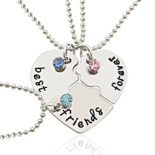 3PCS Heart Style Alloy Necklace For Best Friend - Silver