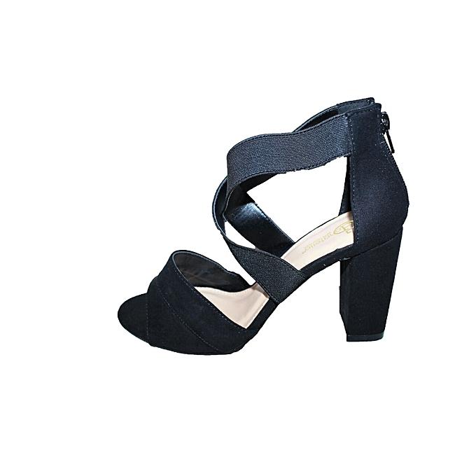 1cbd24cbf19 Black Soft Leather Chunky Heels