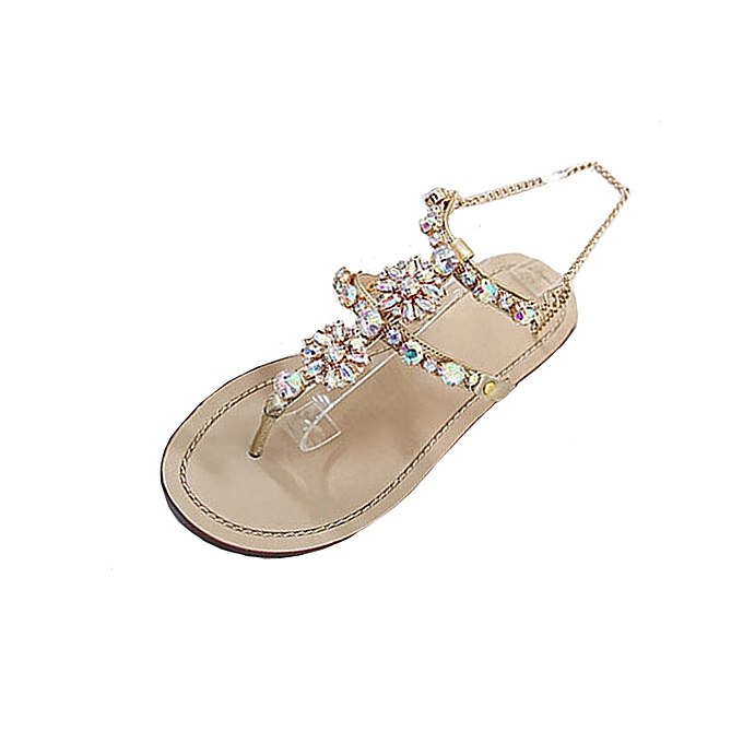 6fb55a953919 huskspo Womens Summer Flat Shining Rhinestones Chain Sandals T-strap  Comfortable Shoes