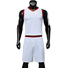 2018 New Customized Blank Children Boy And Men's Basketball Team Sport Jersey Set-White