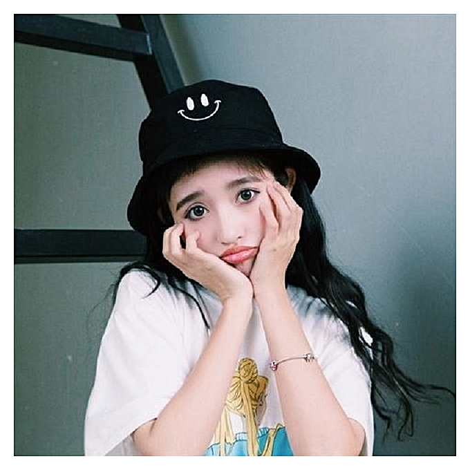 1Curved mouth smiling face black2018 new style of fisherman hat female hat  the female hide a 167779a7754