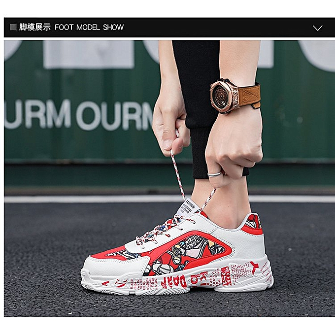 Mens Fashion Sneakers Outdoor Athletic Trainers White Red
