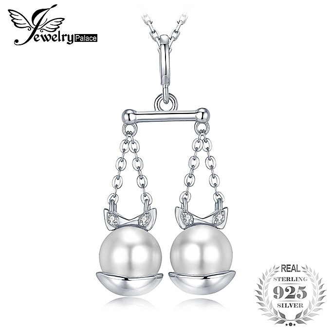 JewelryPalace Pearl Zodiac Pendant S925 Silver Whitout Chain