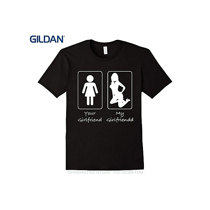 5b33373062f Men s Fashion T-shirt Print Summer Casual Your Girlfriend My Girlfriend  Submissive Girl T Shirt