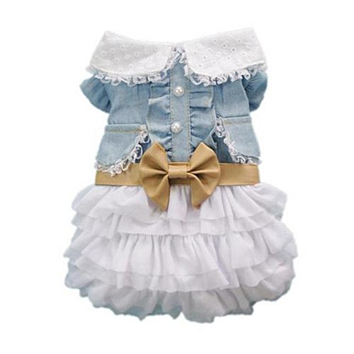 f6a6734bfb8b Generic CO Cute Dog Wedding Dress Skirt Summer Pet Clothes Denim  Harness-blue white