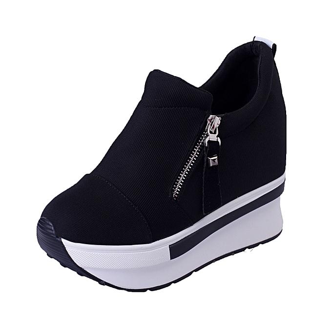 feb4e3a0e Women Wedges Boots Platform Shoes Slip On Ankle Boots Fashion Casual Shoes  BK/35