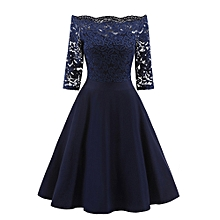 Women New Vintage Lace Patchwork Off Shoulder Cocktail Party Retro Swing Dress Off Shoulder Lady Dress -Navy