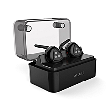Syllable D900 MINI Double-ear Wireless Bluetooth Headset True Wireless Technology Sports Earphone Bluetooth 4.1 Charge Function Low Frequency Balanced for iOS or Android Smartphones WWD