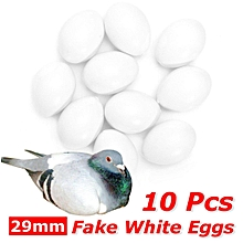 10 Pcs Fake Artificial White Eggs Faux for Pigeon Chicken Birds Breeding 29mm