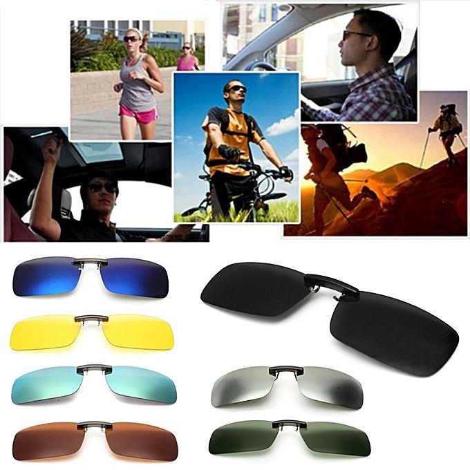 73c79e0fc3 Driving Polarized UV 400 Lens Clip-on Flip-up Sunglasses Glasses Black+Grey